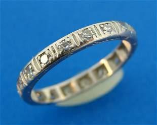 Diamond Platinum ETERNITY BAND Ring Size 4.5 Sizable
