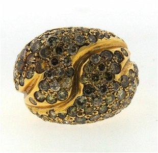 "TRENDY ""HA"" 18k Yellow Gold & Brown Diamond Ring Circa"