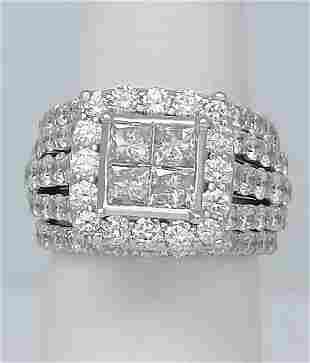 14k WHITE GOLD 4.00ct ROUND PRINCESS CUT DIAMOND HALO