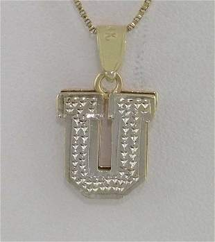LADIES 14K YELLOW GOLD TEXTURED INITIAL U DOUBLE