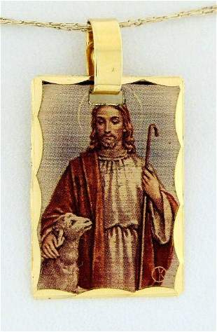 K YELLOW GOLD PLATED JESUS PICTURE PENDANT CHARM