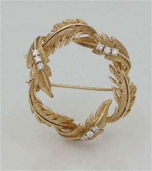 LADIES 14K YELLOW GOLD 1/5c DIAMOND TEXTURED WREATH