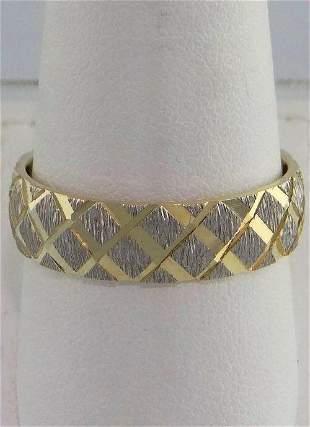 14K YELLOW GOLD DIAMOND CUT WEDDING BAND RING FINE