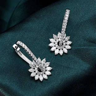 8K White Gold 1.74ctw Diamond Earring