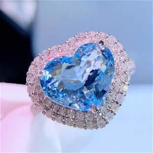 18K White Gold 4.5ct Aquamarine & Diamond Ring