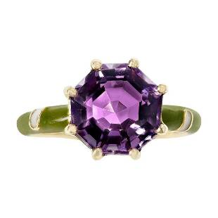 2.48 Ct. Octagonal Amethyst with Green and White