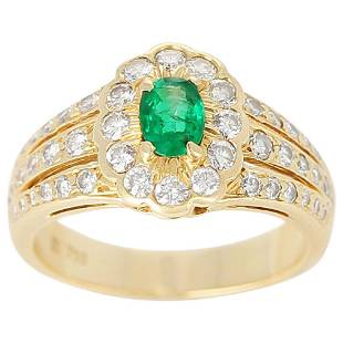Floral Cluster Emerald and Diamond Ring, 18 Karat