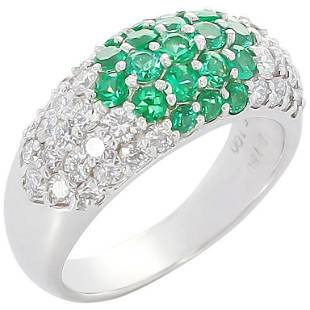 Round Emerald and Diamond Cocktail Ring, Platinum