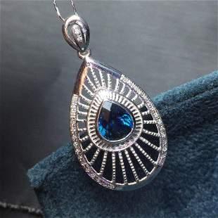 18K White Gold 1.55ct Sapphire & Diamond Pendant