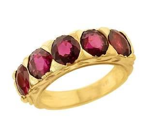 Five-Stone Ruby Band, 18 Karat Yellow Gold