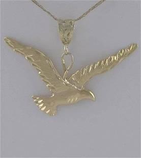 14K YELLOW GOLD FLYING BIRD DIAMOND CUT TEXTURED EAGLE