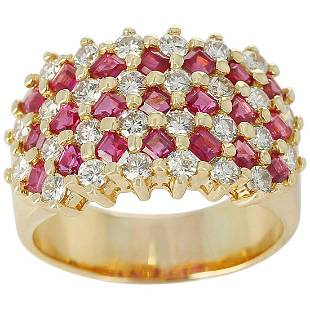 Seven Row-Patterned Ruby and Diamond Ring, 18 Karat