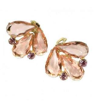 Peach Glass Stone Earrings