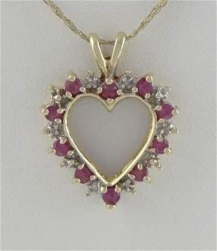 LADIES 10K YELLOW GOLD 1/4ct RUBY DIAMOND HEART JULY