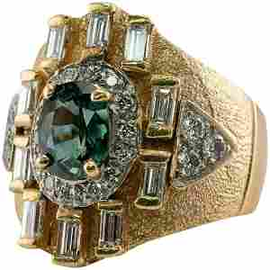 Diamond Green Sapphire Ring 14K Gold Vintage