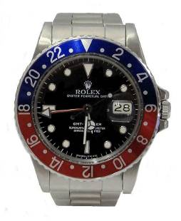 MENS STAINLESS STEEL ROLEX GMT MASTER DATE BLUE RED