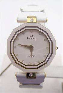 New 18k Gold Plated ROMANSON Swiss Ladies Watch w/White