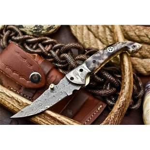 Folding camping work pocket damascus steel knife bone