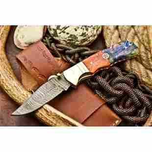 Everyday carry folding pocket damascus steel knife bone