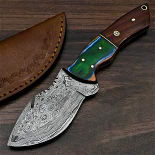 Damascus steel knife handmade skinner camel bone