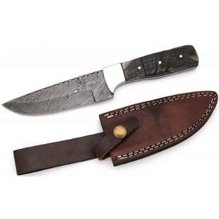 Survival damascus steel knife bowie hunting ram horn