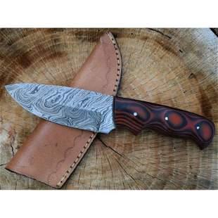 Hunting damascus steel knife hiking full tang micarta