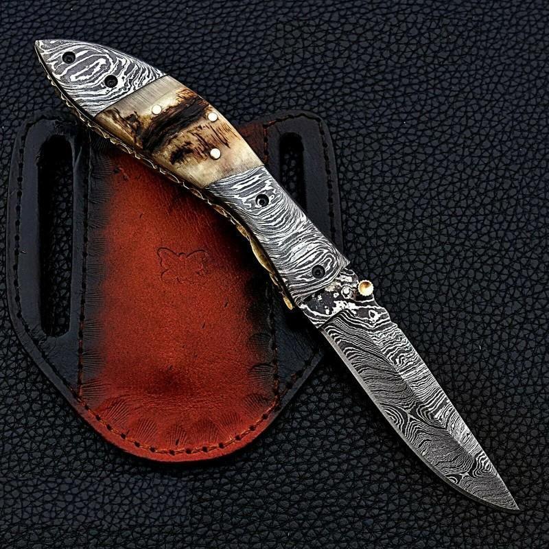 Folding pocket hunting hiking damascus steel knife horn
