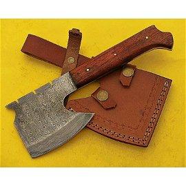 Combat damascus hatchet spike handmade rose wood