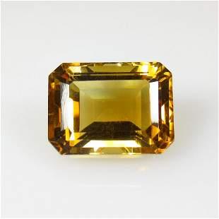 12.68 Ct Natural Yellow Citrine Emerald Cut
