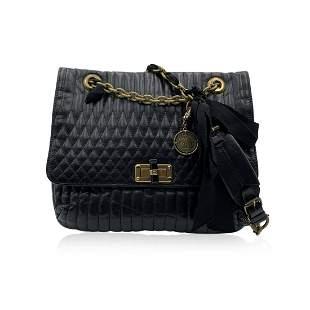 Lanvin Black Soft Quilted Leather Happy Flap Shoulder