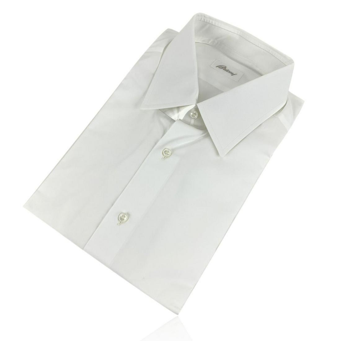 Brioni Light White Long Sleeve Men Button Down Shirt