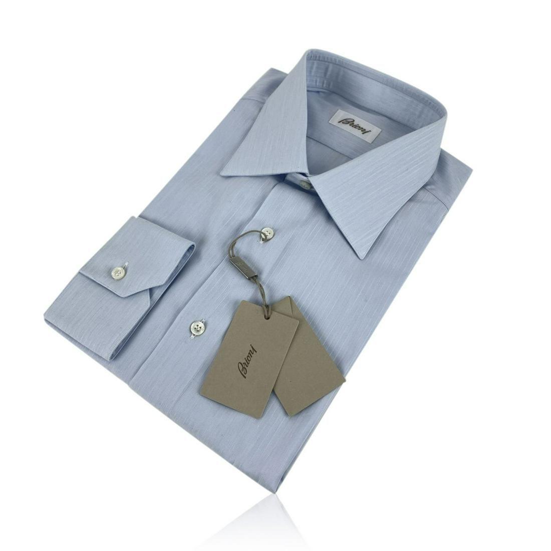 Brioni Light Blue Long Sleeve Men Button Down Shirt