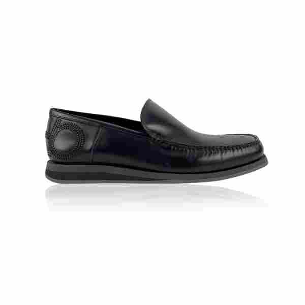 Salvatore Ferragamo Black Leather Alford Men Loafers