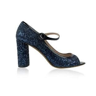 Miu Miu Blue Glitter Mary Jane Pumps Heels Shoes Size