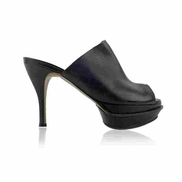 Marni Black Leather Platform Mules Heels Shoes Size 39
