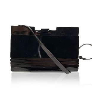Fendi Vintage Black Lucite and Leather Clutch Shoulder