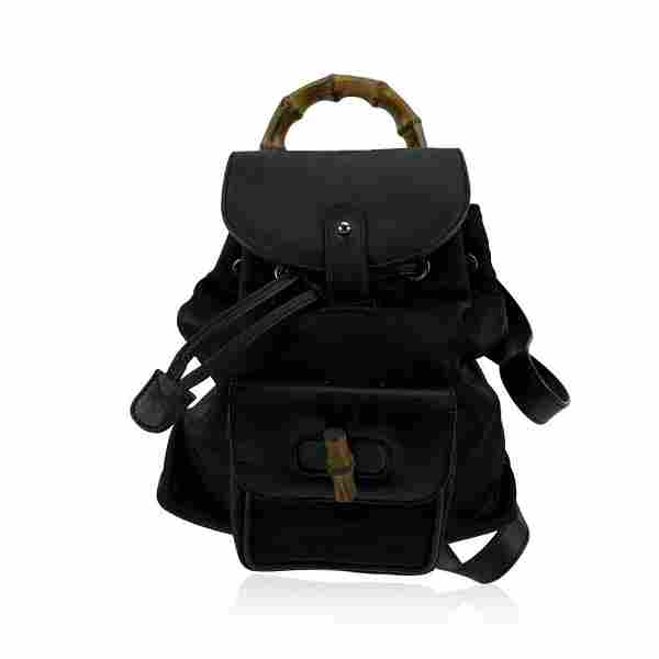 Gucci Vintage Black Canvas Small Bamboo Backpack