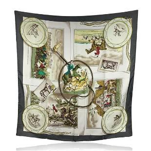 Hermes Vintage Rare Silk Scarf The Hunt 1963 Philippe