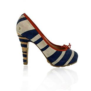 Chanel Red Navy White Suede Striped Pumps Heels Size