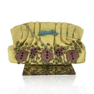 Blumarine Yellow Hand Embroidred Fabric Small Evening
