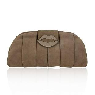Yves Saint Laurent Pink Suede Lips Clutch Evening Bag