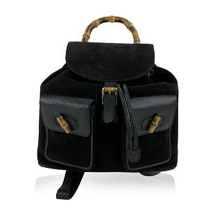 Gucci Vintage Black Leather and Suede Bamboo Backpack