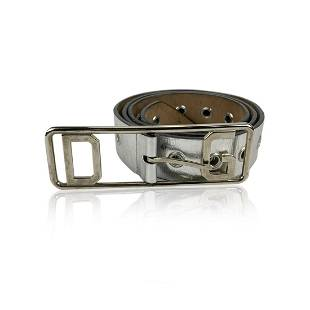 Dolce & Gabbana Silver Leather Belt Perforated Studs
