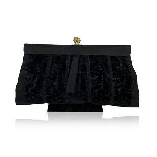 Gucci Rare Vintage Black Velvet Satin Evening Bag