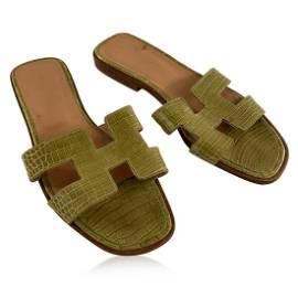 Hermes Green Leather Oran Flat Slide Sandals Slip On