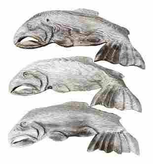 1960s Rustic Beach Style Whale Wall Carvings - Set of 3