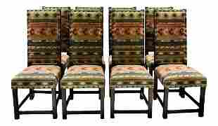 Versatile Solid Dining Chairs in Southwestern Fabric -