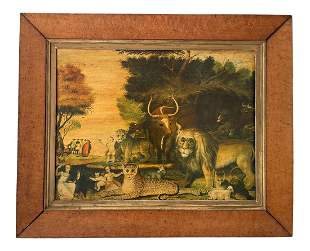 """1940s """"The Peaceable Kingdom"""" Painting, Framed"""