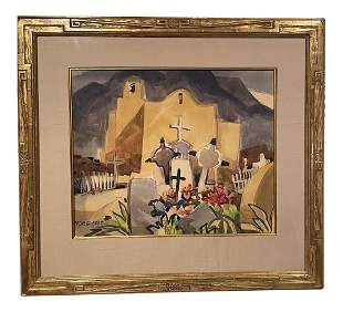 1960s New Mexican Watercolor Painting by George Post,