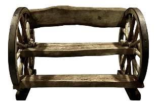 Authentic Antique Wagon Wheel Mesquite Bench